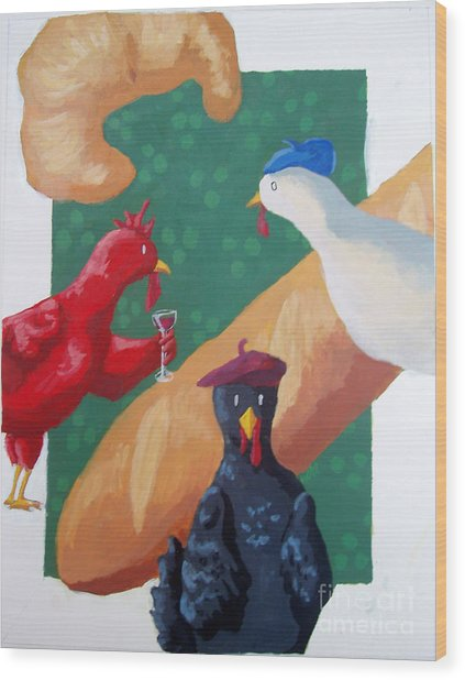 Three French Hens Wood Print