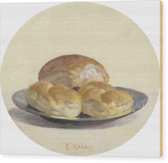 Three French  Rolls On An Iron Plate Wood Print by Ben Rikken