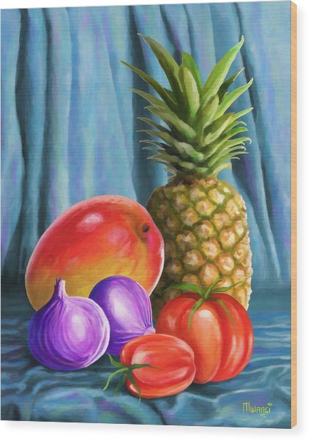 Three Fruits And A Vegetable Wood Print