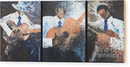 Three Guitar Players Wood Print by Roni Ruth Palmer
