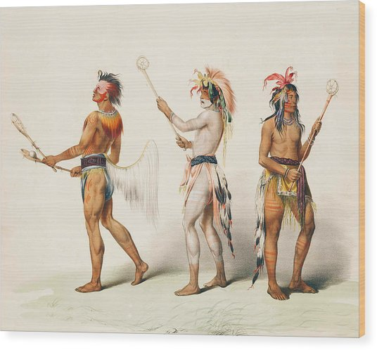 Three Indians Playing Lacrosse Wood Print