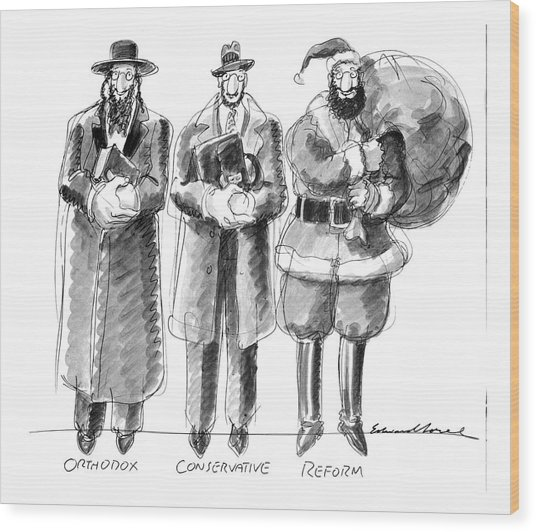 Three Jews Are Standing In A Line Wood Print