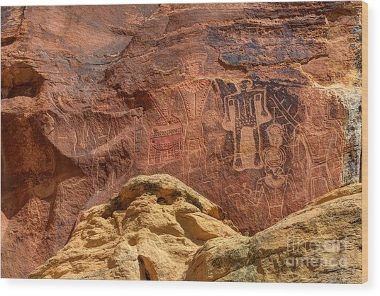 Three Kings Petroglyph - Mcconkie Ranch - Utah Wood Print