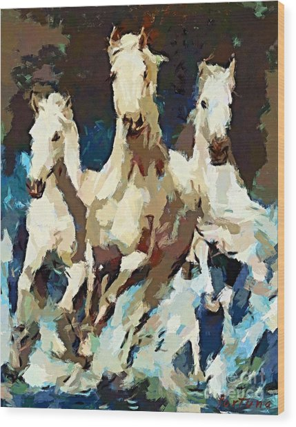 Three Lipizzans Wood Print