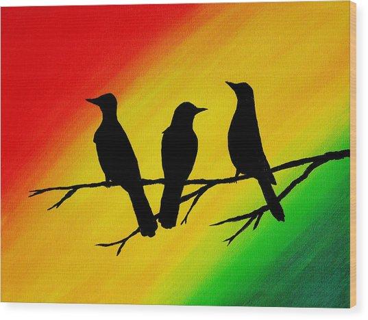 Three Little Birds Original Painting Wood Print