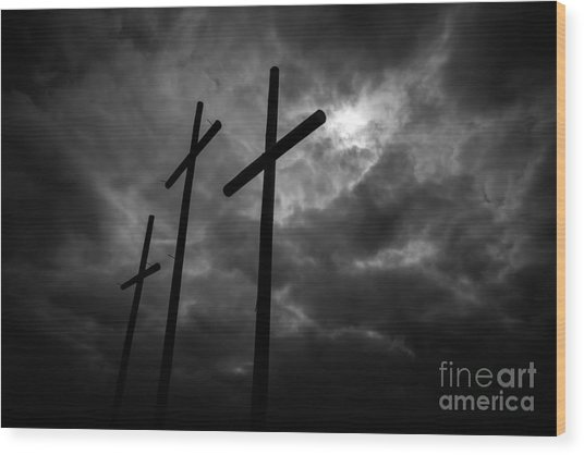 Three Lonely Crosses In The Mississippi Delta Wood Print