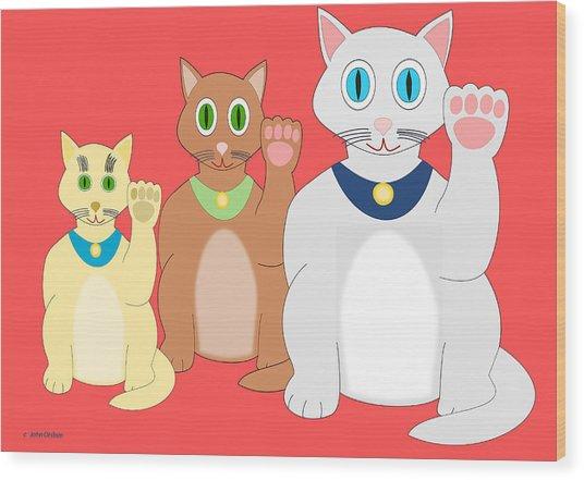 Three Lucky Cats Wood Print