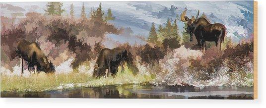 Three Moose Wood Print