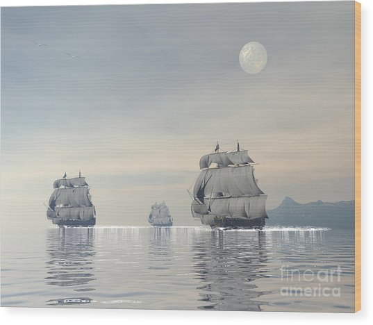 Three Old Ships Sailing In The Ocean Wood Print