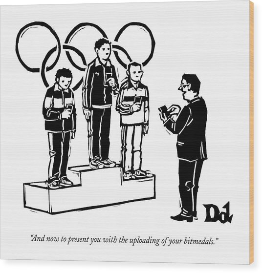 Three Olympic Athletes Stand On A Daius Wood Print