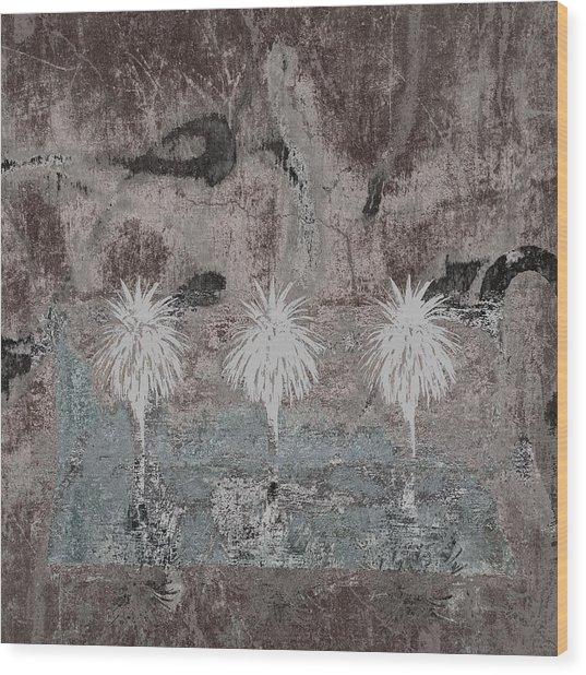 Three Palms Oasis Wood Print