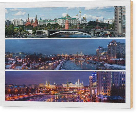 Three Panoramas Of Moscow Kremlin - Featured 3 Wood Print