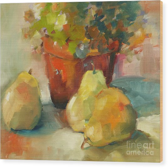 Three Pears And A Pot Wood Print