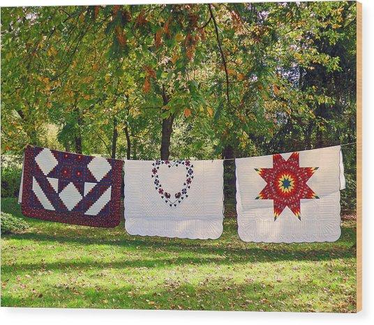 Three Quilts Wood Print
