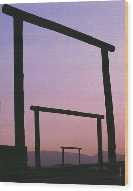 Three Ranch Gates Wood Print