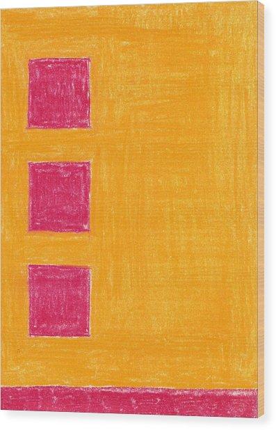Three Red Squares Wood Print