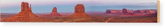 Three Rock Formations In Red Hues With Wood Print