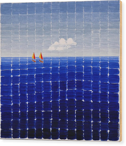 Three Sail Boats #2 Wood Print