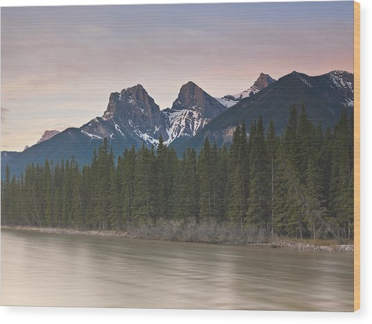 Three Sisters And Bow River Canmore Wood Print by Richard Berry