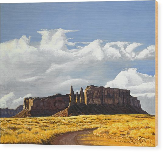 Three Sisters Monument Valley Wood Print