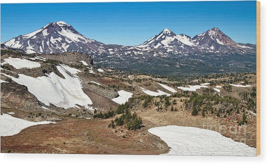 Three Sisters Panorama Wood Print