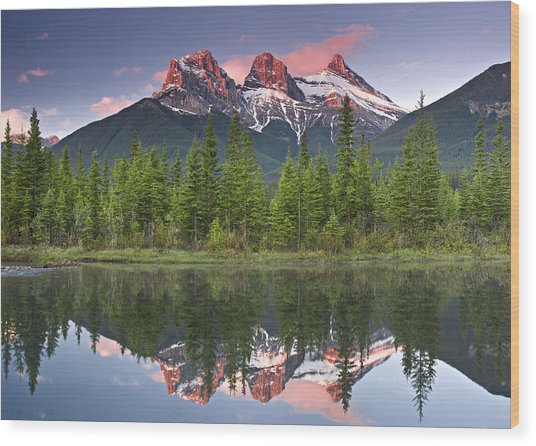 Three Sisters Reflection Wood Print by Richard Berry