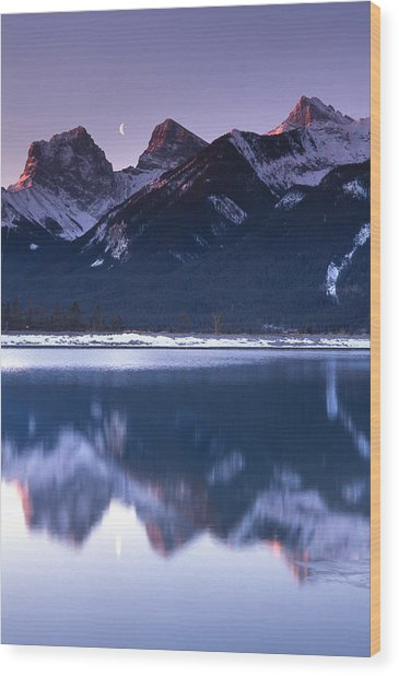 Three Sisters With Crescent Moon Wood Print by Richard Berry