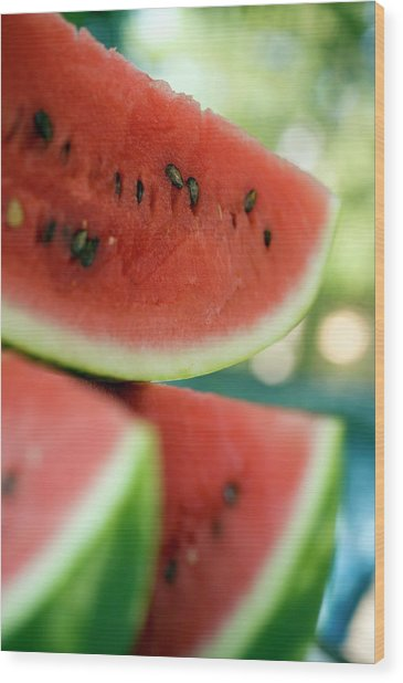 Three Slices Of Watermelon Wood Print