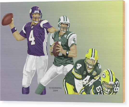 Three Stages Of Bret Favre Wood Print