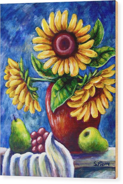 Three Sunflowers And A Pear Wood Print