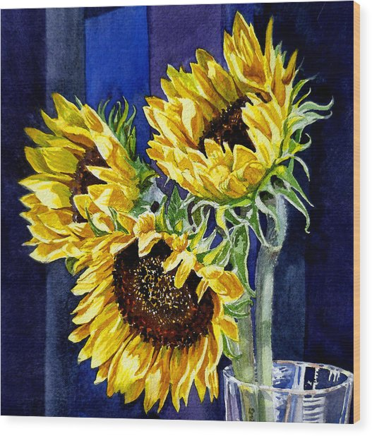 Three Sunny Flowers Wood Print
