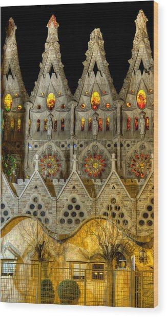 Three Tiers - Sagrada Familia At Night - Gaudi Wood Print