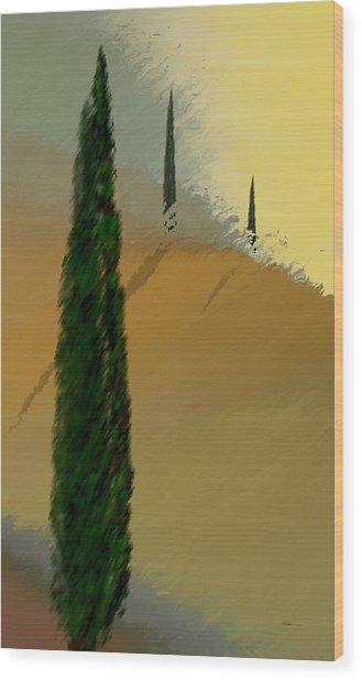 Three Tree Tuscany Wood Print