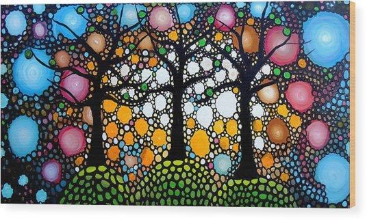Three Trees On A Hill Wood Print