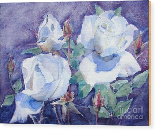 White Roses With Red Buds On Blue Field Wood Print