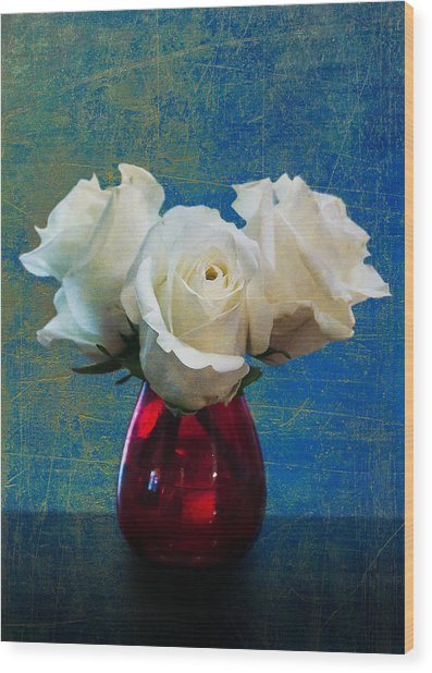 Three White Roses Wood Print
