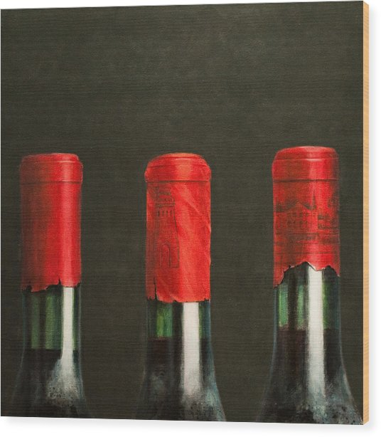 Three Wines Wood Print