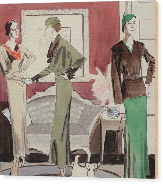 Three Women In A Living Room Wood Print