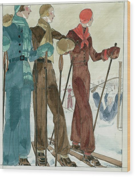 Three Women On The Ski Slopes Wearing Suits Wood Print