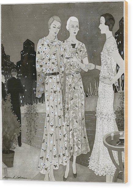 Three Women Outdoors Wears Jay-thorpe Wood Print by Barbara E. Schwinn