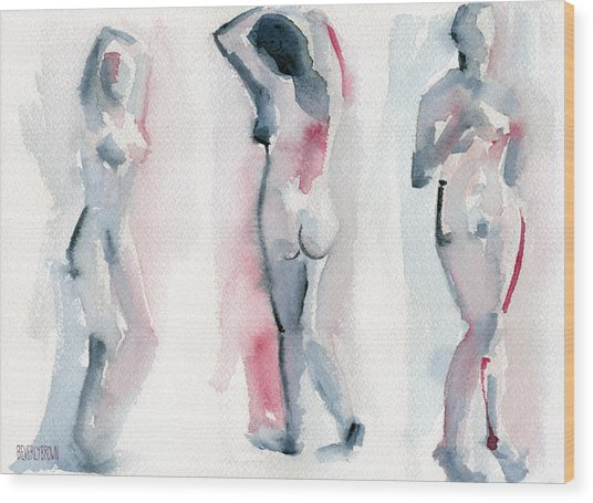 Three Women Pink And Blue Watercolor Nude Figure Painting Wood Print