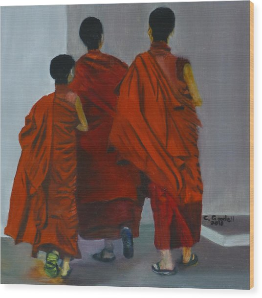 Three Young Monks Wood Print