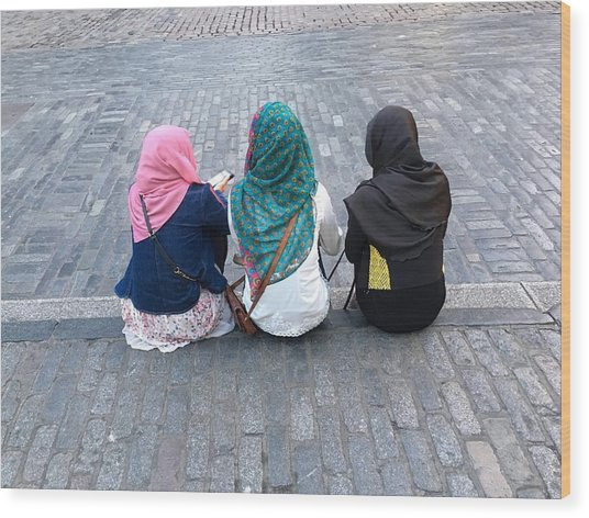 Three Young Muslim Girls Wood Print by Montes-Bradley