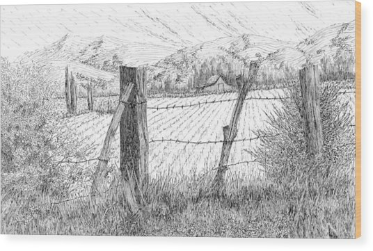 Through The Fence Wood Print