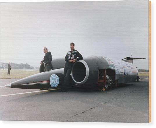 Thrust Ssc Supersonic Car And Team Wood Print by Science Photo Library