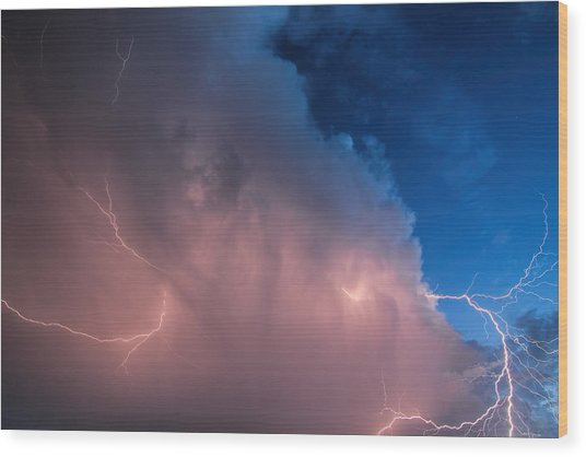 Thunder God Approaches Wood Print