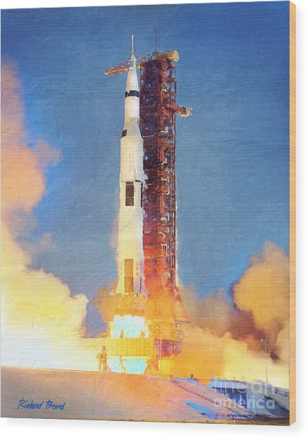 Thunder Of Apollo Saturn V Wood Print