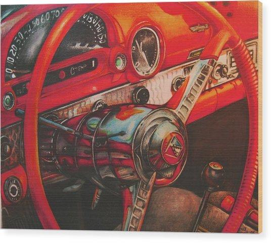 Thunderbird Red Wood Print by Kathleen Bischoff