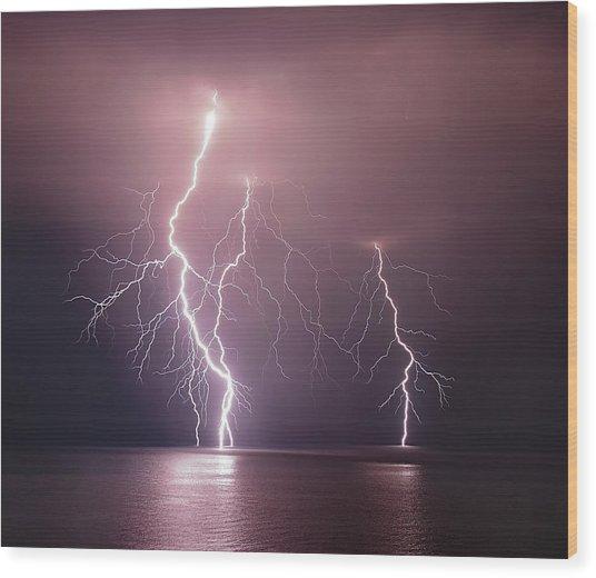 Thunderbolt Over The Sea Wood Print