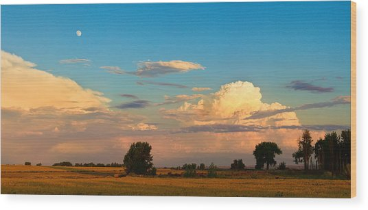Thunderstorm Front Blue Sky And Moon Panorama Wood Print by James BO  Insogna
